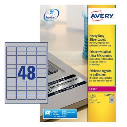 L6009-20 Heavy Duty Silver Labels